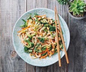 vegan and udon noodles image