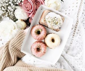 donuts, flowers, and food image