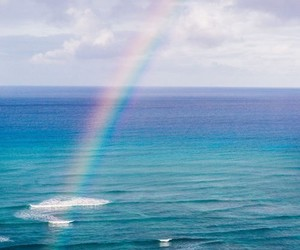 rainbow, sea, and blue image