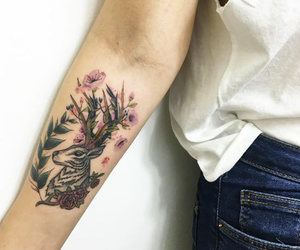 art, floral, and stag image