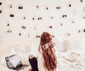 bedroom, hair, and girl image