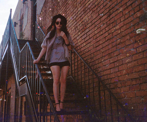 girl, fashion, and stairs image