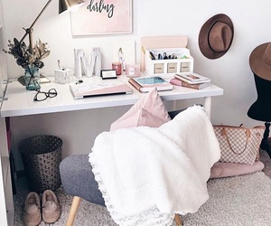 desk, interior, and pink image