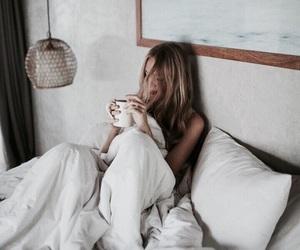 bed, girl, and mug image