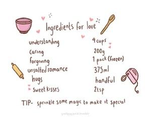 love, hug, and ingredients image