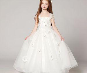 little girl, flower girl dress, and tulle image