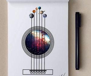 art, guitar, and galaxy image