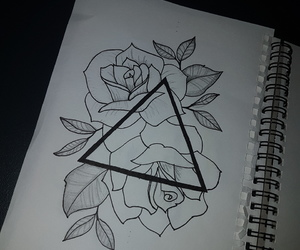 doodle, drawing, and rose image