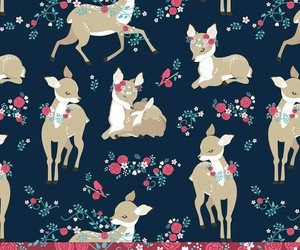 animals, deer, and flower pattern image