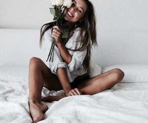 bed, flower, and girl image