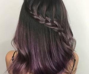 braids, dark purple, and hair image
