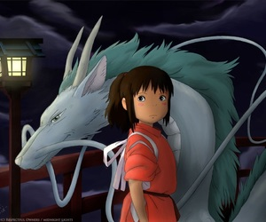 chihiro, spirited away, and dragon image
