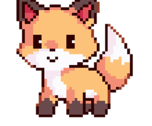 fox, pixel, and png image