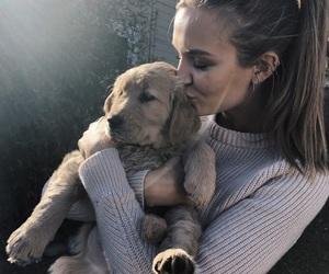 girl, dog, and josephine skriver image