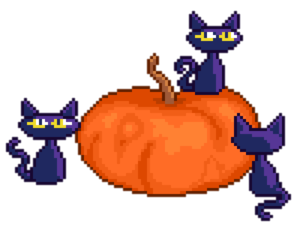 cats, Halloween, and pixel image