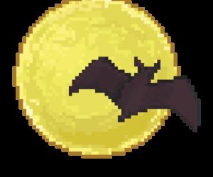 bat, moon, and pixel image