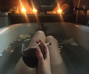 wine, cigarette, and smoke image