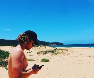 5sos, luke hemmings, and beach image