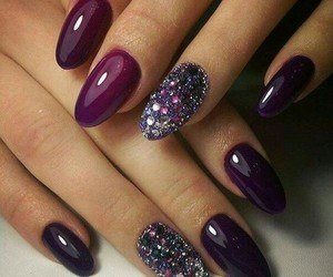 nails, manicure, and purple image