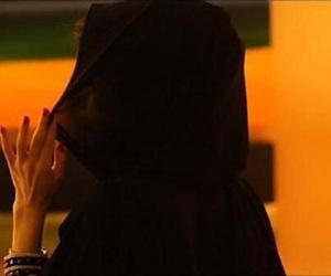black, hijab, and abaya image