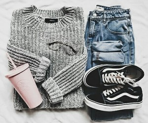 chic, clothes, and gray image