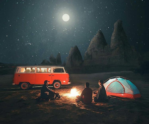 night, travel, and camping image