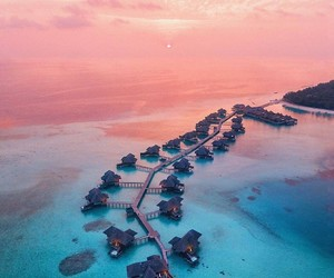 Maldives, ocean, and pink image