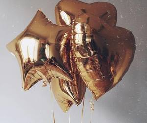 balloons, gold, and heart image