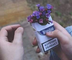 blue, cigarette, and flowers image