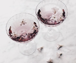 drink, flowers, and pink image