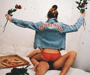 boy, kiss, and pizza image