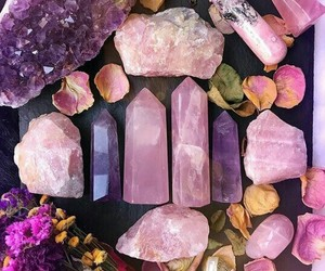 crystals, flowers, and pink image