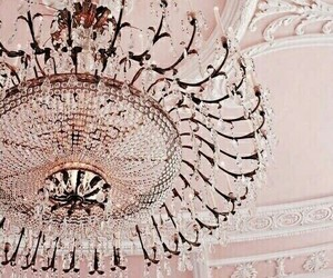 chandelier, pastel, and pink image