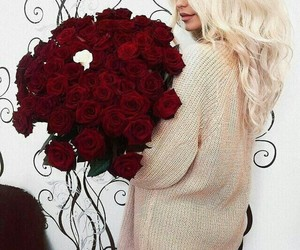bouquet, red, and sweater image