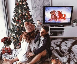 christmas, couple, and gifts image