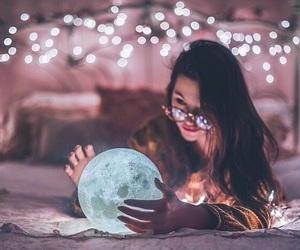 lights, girl, and moon image