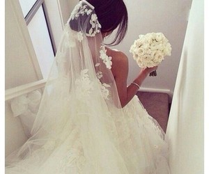 bouquet, wedding dress, and bridal dress image