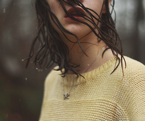 girl, rain, and yellow image
