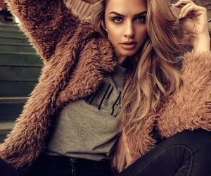 brunette, fashion, and fur coat image