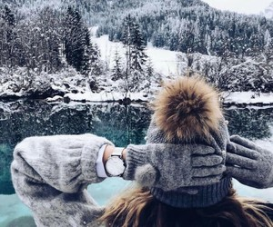 hat, mountains, and sweater image