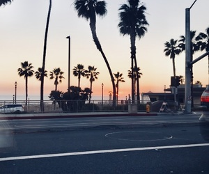 california, palm trees, and road image