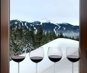 mountain and red wine image