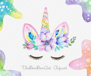 etsy, watercolor flower, and birthday clipart image