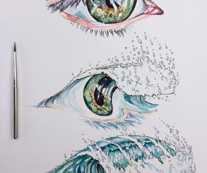 art, eye, and sea image