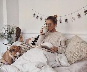 girl, cozy, and dog image