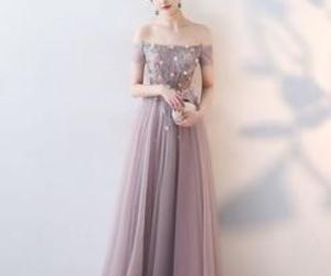a-line, evening dress, and off the shoulder image