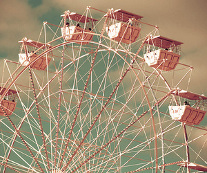 ferris wheel, pink, and photography image