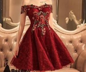 lace, off the shoulder, and short prom dress image
