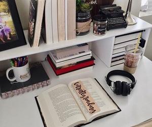 books, bookshelf, and stationary image