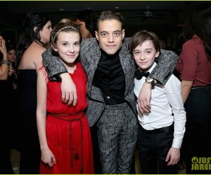 eleven, rami malek, and stranger things image